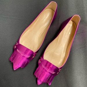 Kate Spade Pink Shinny Point Slip On Flats 8.5 M